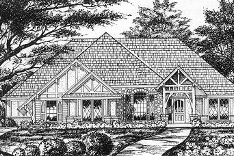 Tudor Exterior - Front Elevation Plan #40-384