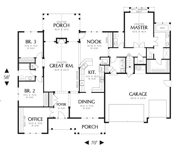 Craftsman Floor Plan - Main Floor Plan Plan #48-556