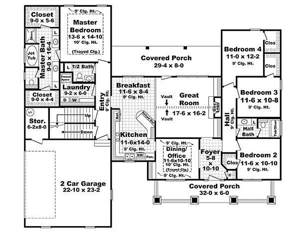 Craftsman Floor Plan - Main Floor Plan Plan #21-294