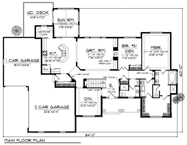 European Floor Plan - Main Floor Plan Plan #70-874