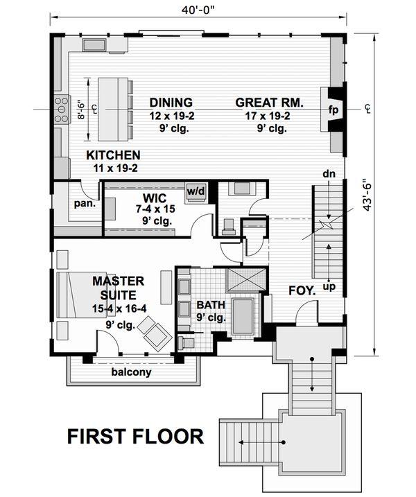 Contemporary Floor Plan - Main Floor Plan Plan #51-580