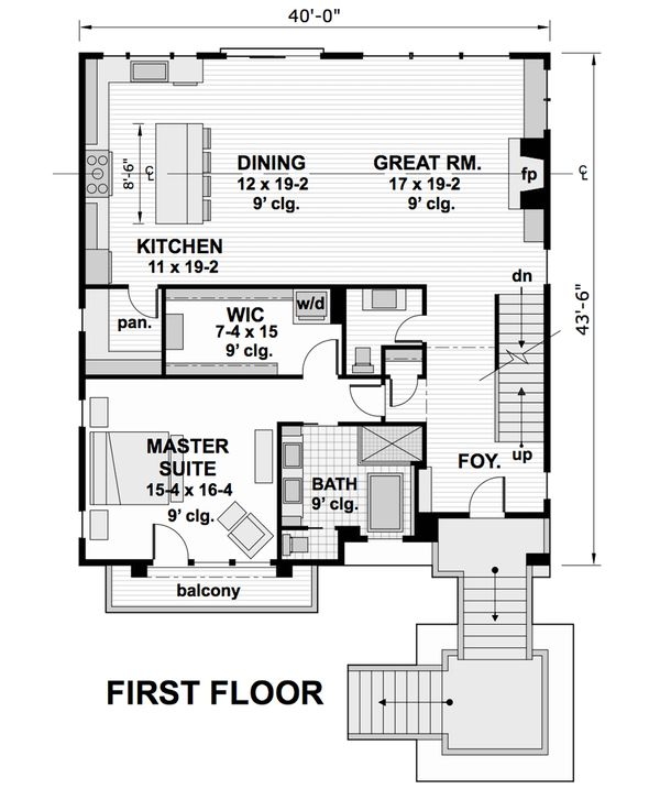 Contemporary Floor Plan - Main Floor Plan #51-580