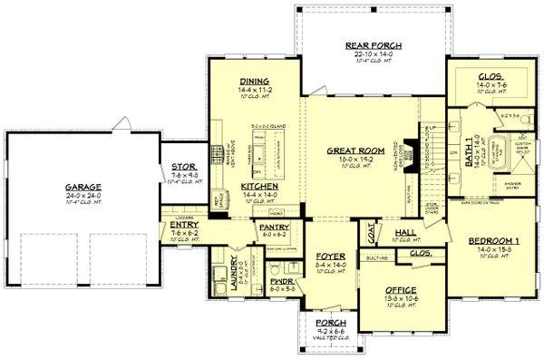 House Plan Design - Farmhouse Floor Plan - Main Floor Plan #430-248