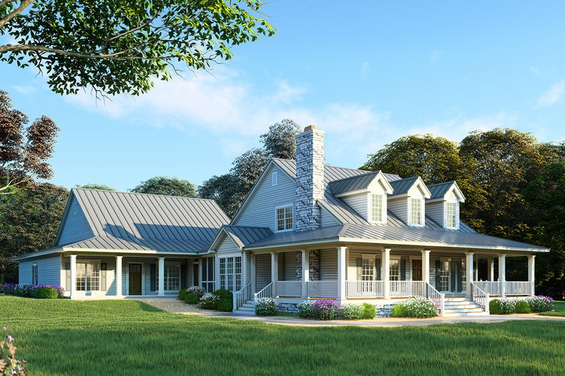 Farmhouse Style House Plan - 6 Beds 4 Baths 3437 Sq/Ft Plan #923-22 Exterior - Front Elevation