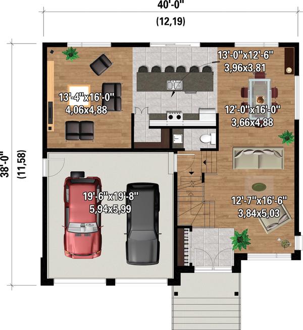 Dream House Plan - Contemporary Floor Plan - Main Floor Plan #25-4885