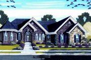 European Style House Plan - 3 Beds 3.5 Baths 4457 Sq/Ft Plan #46-441 Exterior - Front Elevation