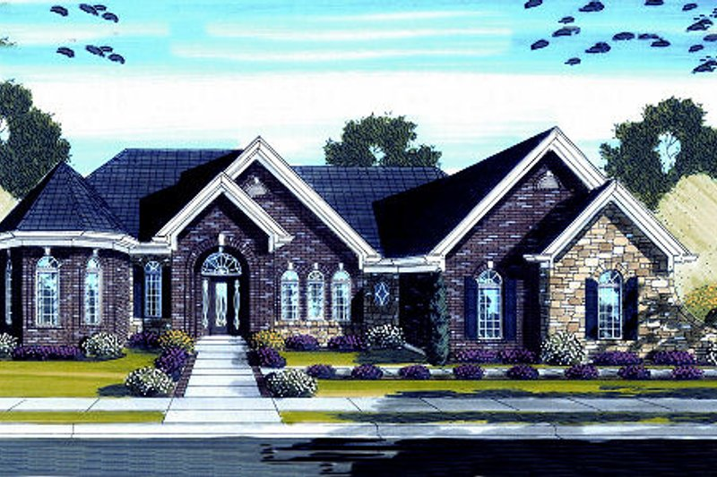European Exterior - Front Elevation Plan #46-441