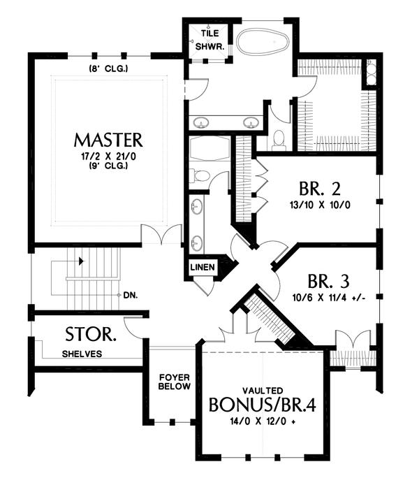 Dream House Plan - Cottage Floor Plan - Upper Floor Plan #48-997