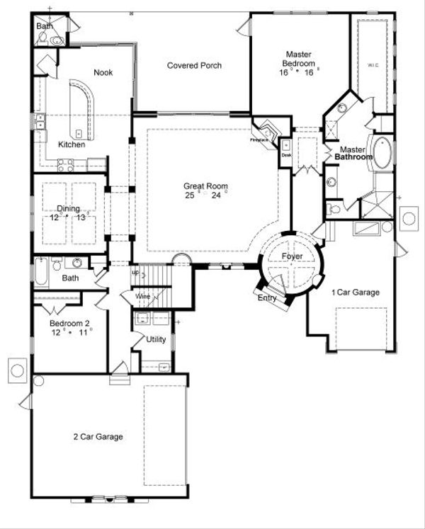 European Floor Plan - Main Floor Plan Plan #417-399