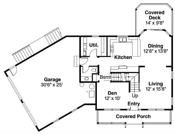 Colonial Floor Plan - Main Floor Plan Plan #124-838