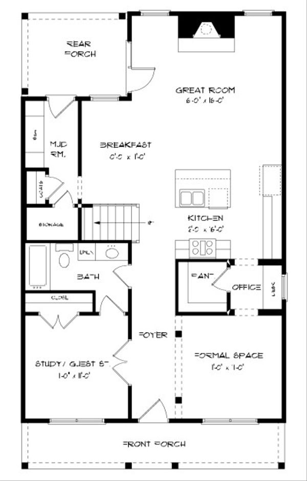 Tudor Floor Plan - Main Floor Plan Plan #413-873