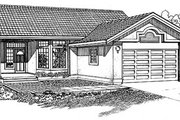 Mediterranean Style House Plan - 3 Beds 2 Baths 1365 Sq/Ft Plan #47-202 Exterior - Front Elevation