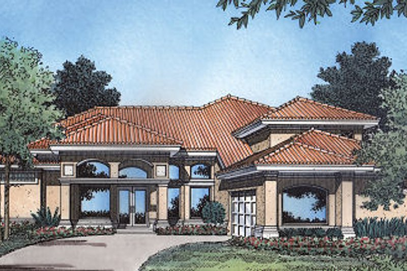 Mediterranean Style House Plan - 4 Beds 3 Baths 3084 Sq/Ft Plan #417-343 Exterior - Front Elevation
