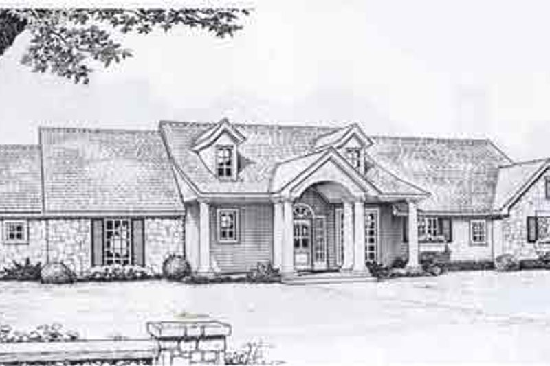 Traditional Style House Plan - 3 Beds 2.5 Baths 1562 Sq/Ft Plan #310-895 Exterior - Front Elevation