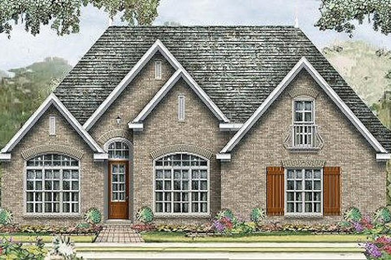 European Style House Plan - 3 Beds 2 Baths 1828 Sq/Ft Plan #424-187 Exterior - Front Elevation