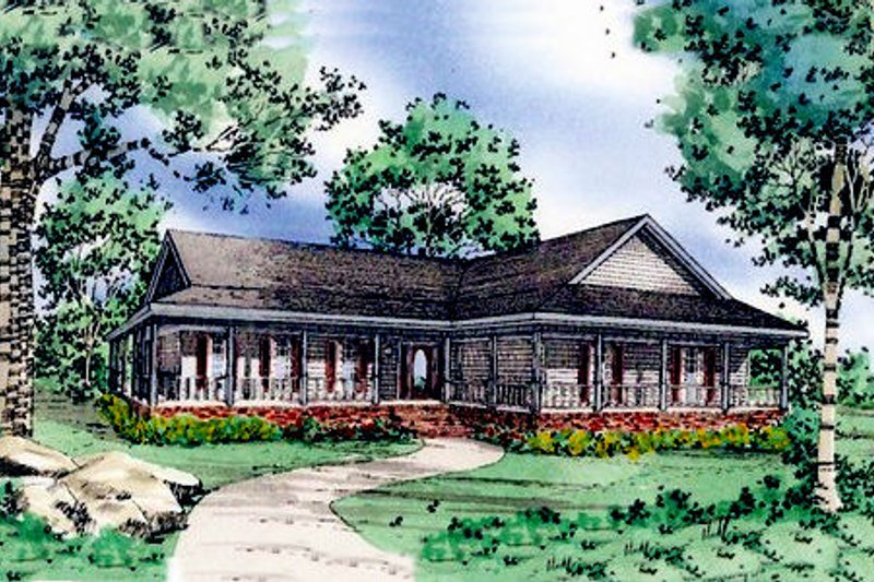 Country Style House Plan - 3 Beds 2.5 Baths 1880 Sq/Ft Plan #405-186 Exterior - Front Elevation