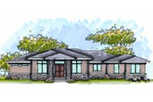 Prairie Exterior - Front Elevation Plan #70-1005