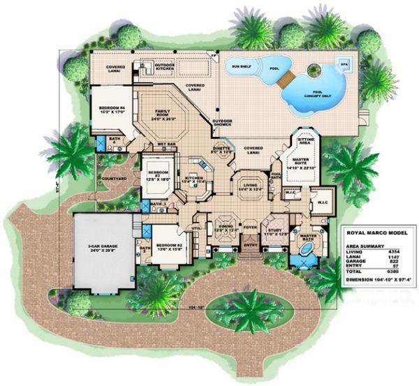 Mediterranean Floor Plan - Main Floor Plan Plan #27-375