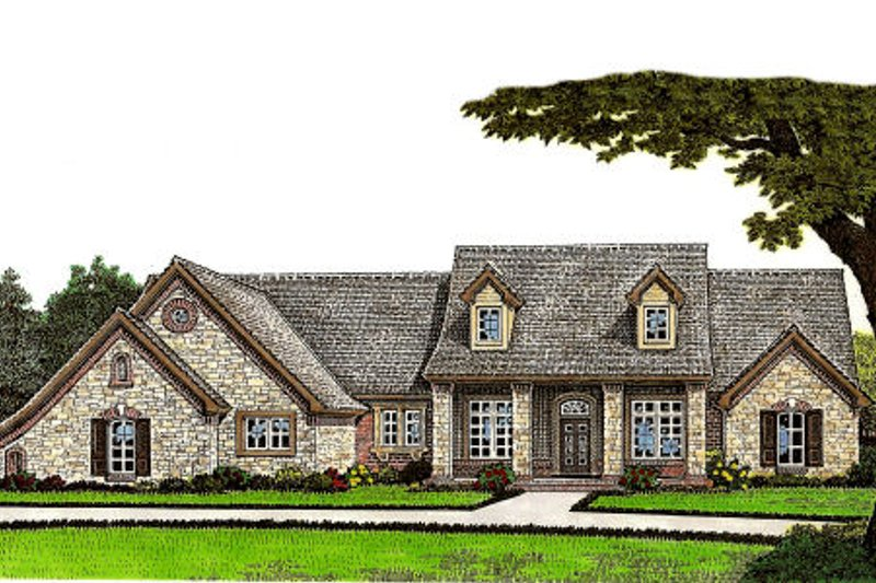 European Style House Plan - 4 Beds 2.5 Baths 2402 Sq/Ft Plan #310-652 Exterior - Front Elevation
