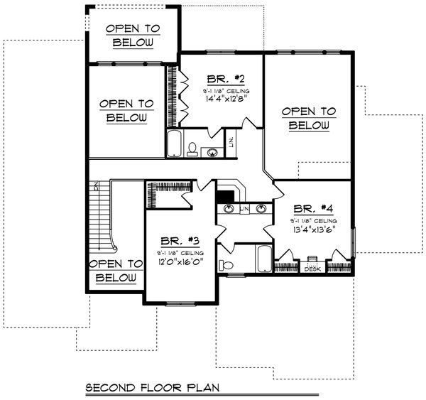 Craftsman Floor Plan - Upper Floor Plan Plan #70-956