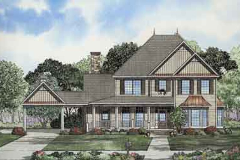 Country Style House Plan - 4 Beds 4 Baths 3063 Sq/Ft Plan #17-2096 Exterior - Front Elevation