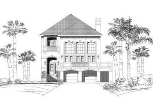 Mediterranean Exterior - Front Elevation Plan #411-240