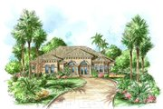 Mediterranean Style House Plan - 3 Beds 3 Baths 3154 Sq/Ft Plan #27-101 Exterior - Front Elevation