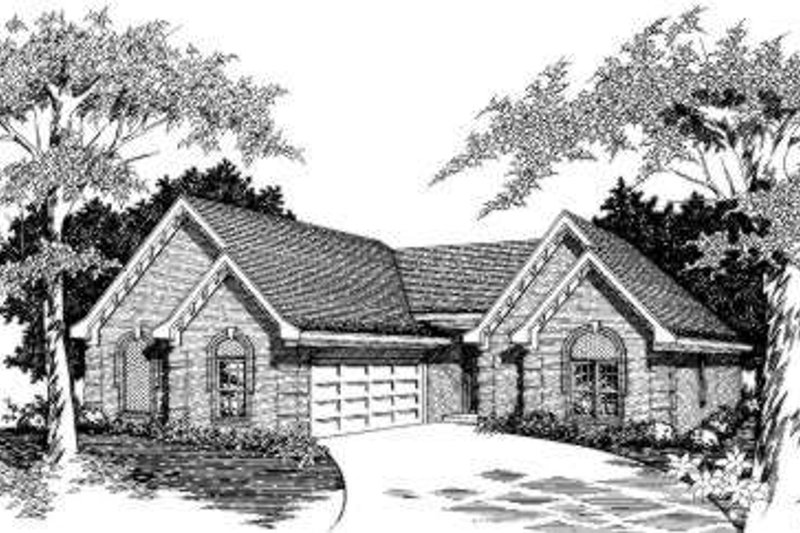 European Style House Plan - 3 Beds 2 Baths 1838 Sq/Ft Plan #329-109 Exterior - Front Elevation