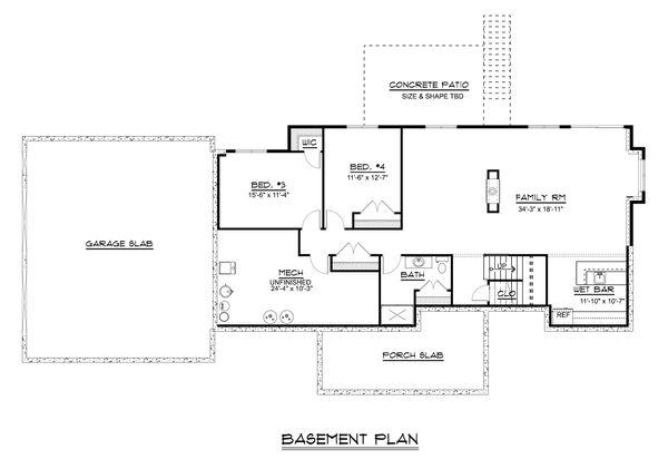Craftsman Floor Plan - Lower Floor Plan #1064-30