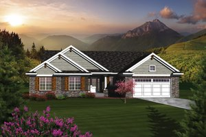 Ranch Exterior - Front Elevation Plan #70-1077