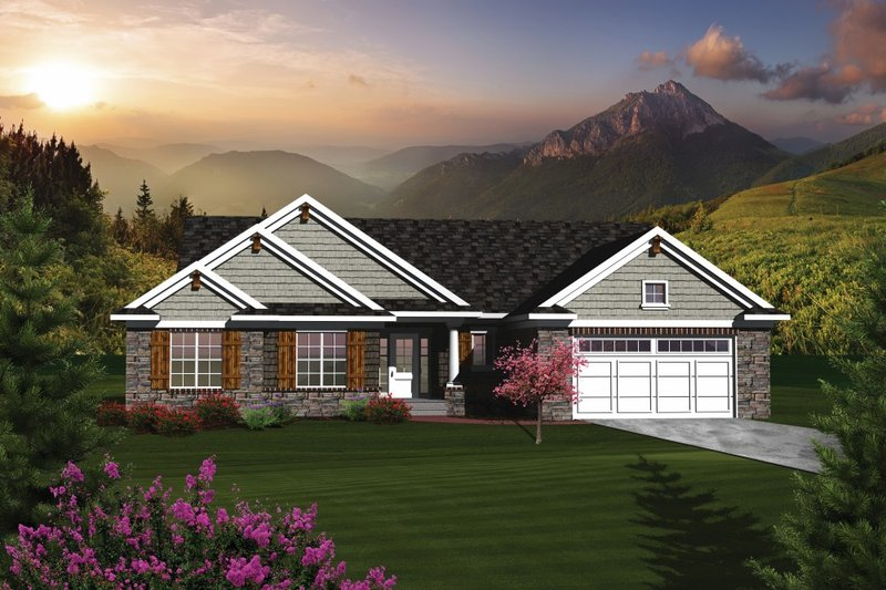 Home Plan - Ranch Exterior - Front Elevation Plan #70-1077