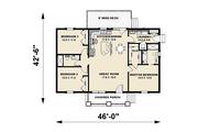 Craftsman Style House Plan - 2 Beds 2 Baths 1311 Sq/Ft Plan #44-226 Floor Plan - Main Floor Plan