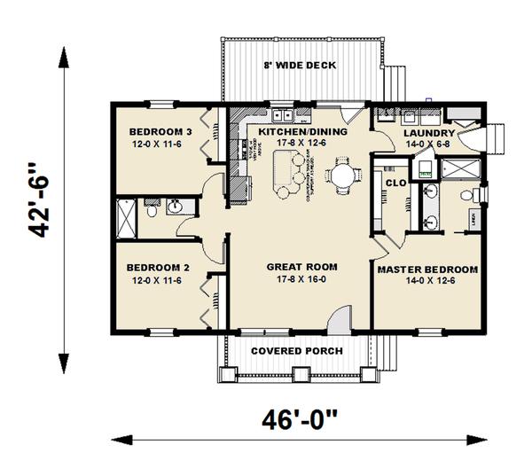 Craftsman Floor Plan - Main Floor Plan Plan #44-226
