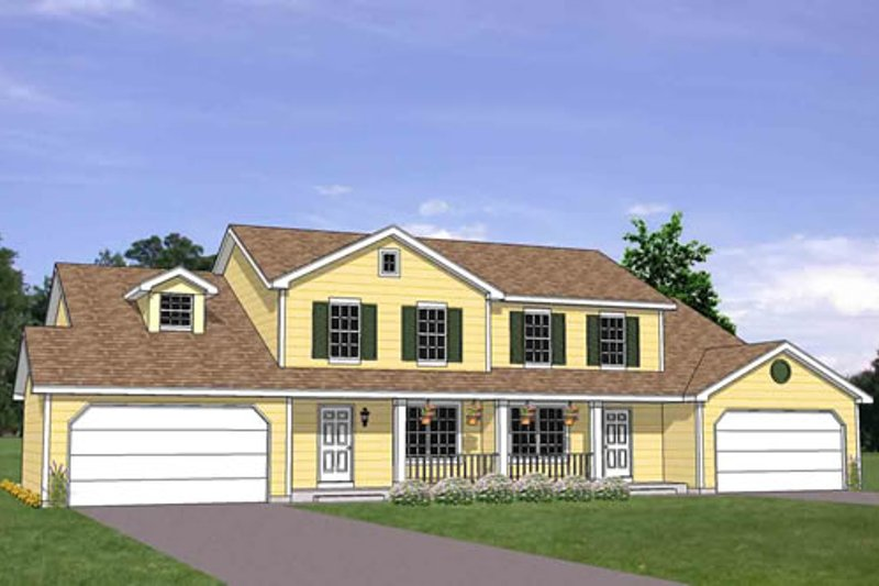 Traditional Style House Plan - 4 Beds 2 Baths 3253 Sq/Ft Plan #116-289 Exterior - Front Elevation
