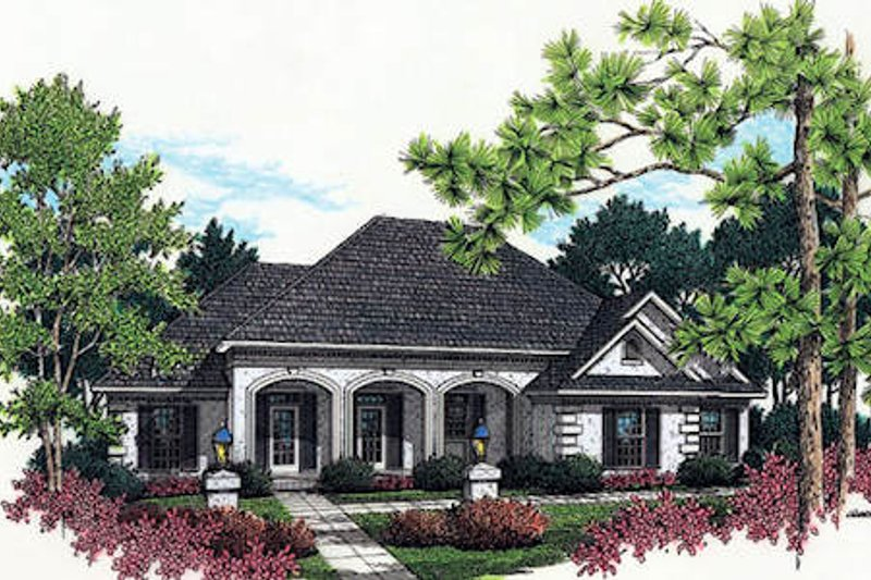 Southern Style House Plan - 3 Beds 2 Baths 1770 Sq/Ft Plan #45-237 Exterior - Front Elevation