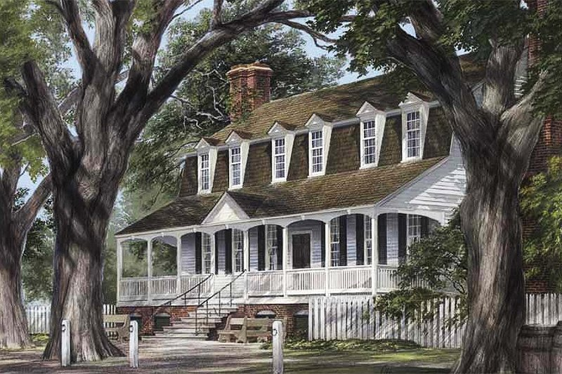 Colonial Style House Plan - 4 Beds 4 Baths 3434 Sq/Ft Plan #137-177 Exterior - Front Elevation