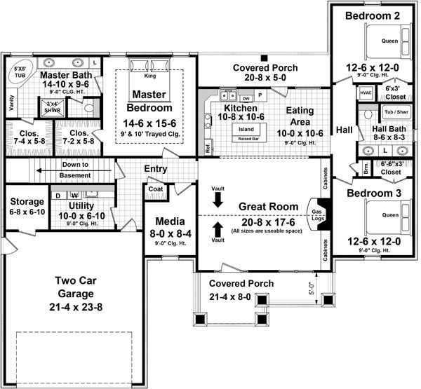 Craftsman Floor Plan - Main Floor Plan Plan #21-358