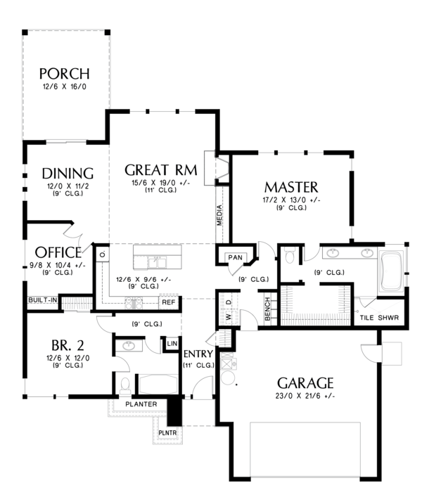 Prairie Floor Plan - Main Floor Plan Plan #48-684