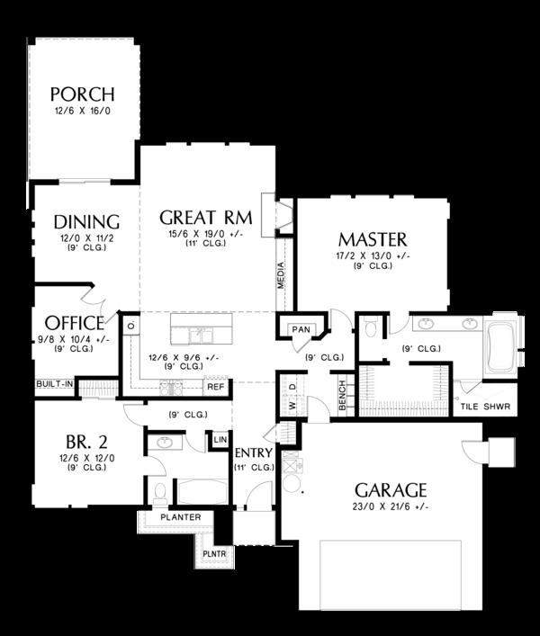 House Plan Design - Prairie Floor Plan - Main Floor Plan #48-684