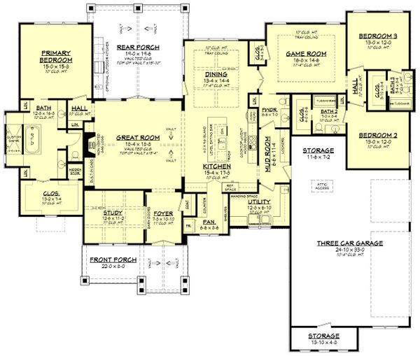 House Plan Design - Ranch Floor Plan - Main Floor Plan #430-242