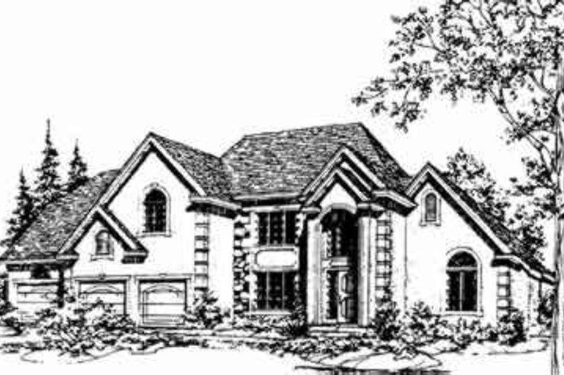 European Style House Plan - 4 Beds 4 Baths 2988 Sq/Ft Plan #405-106