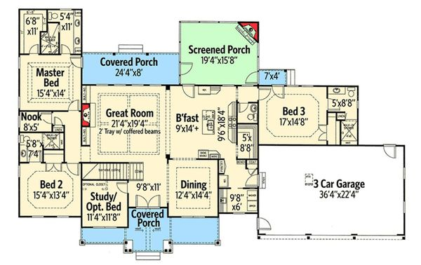 Craftsman Floor Plan - Main Floor Plan Plan #437-74