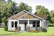 Craftsman Style House Plan - 3 Beds 2 Baths 1064 Sq/Ft Plan #116-304 Exterior - Front Elevation