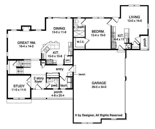 Traditional Floor Plan - Main Floor Plan Plan #1010-206
