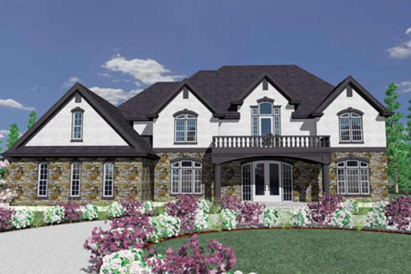 European Style House Plan - 5 Beds 5 Baths 6579 Sq/Ft Plan #509-45 Exterior - Front Elevation