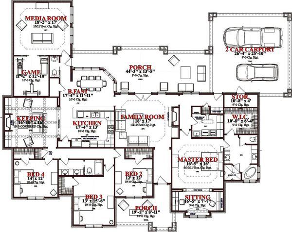 European Floor Plan - Main Floor Plan Plan #63-326