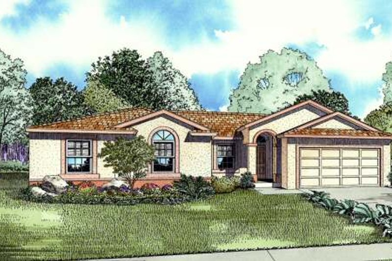 Mediterranean Style House Plan - 4 Beds 2 Baths 1658 Sq/Ft Plan #420-108 Exterior - Front Elevation