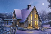 Cabin Style House Plan - 3 Beds 2 Baths 1769 Sq/Ft Plan #57-564 Exterior - Front Elevation