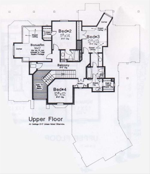 European Floor Plan - Upper Floor Plan #310-904