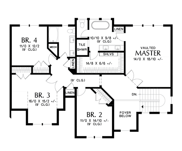 Contemporary Floor Plan - Upper Floor Plan #48-986